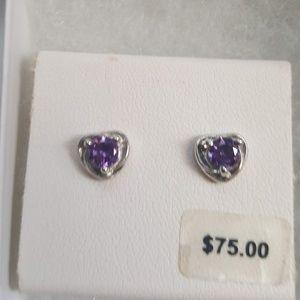 New in box Swarovski Amethyst Crystal earrings